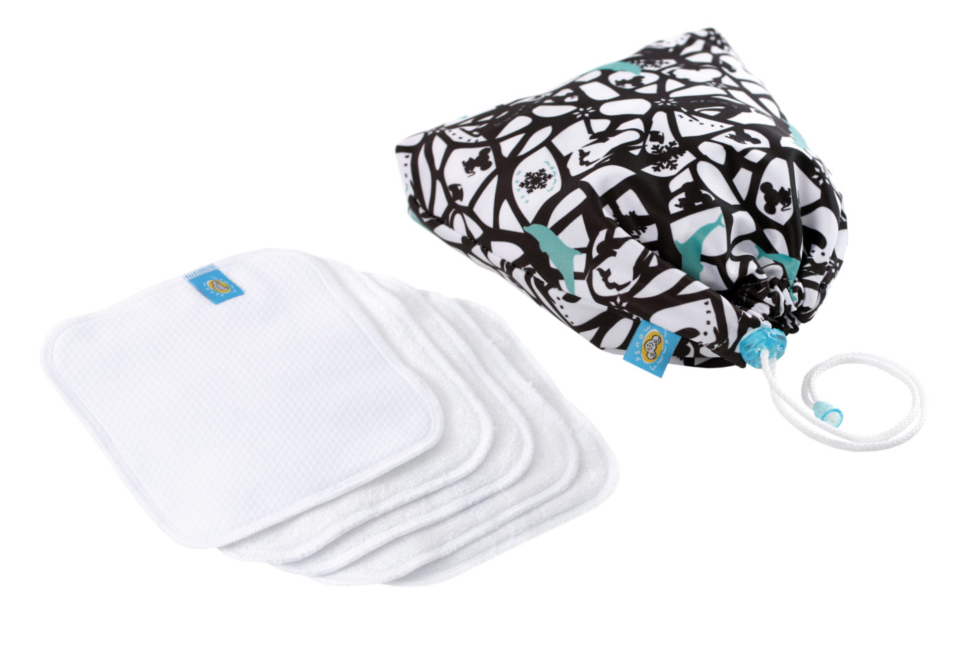 Reusable Wipe Pouch ADELLIA +  5pcs Reusable Wipes (COMBINED SET)