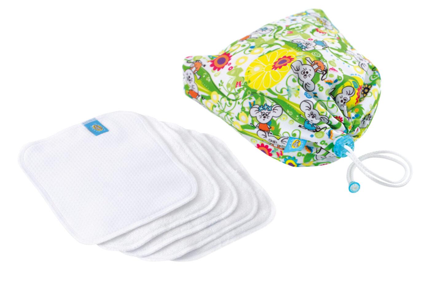 Reusable Wipe Pouch LEMON TREE +  5pcs Reusable Wipes (COMBINED SET)