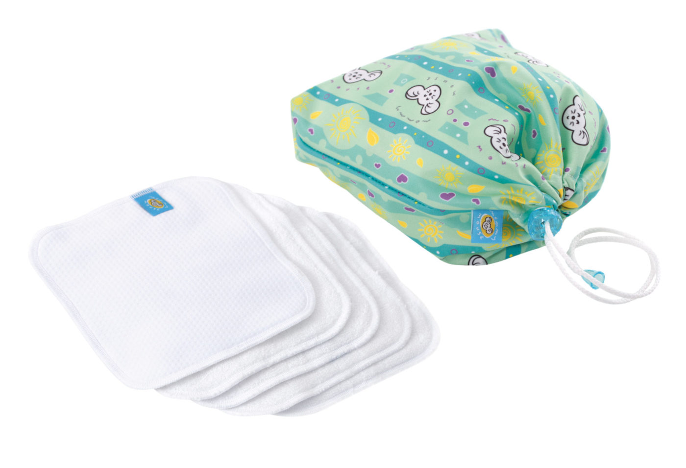 Reusable Wipe Pouch MOJE SŁONECZKO +  5pcs Reusable Wipes (COMBINED SET)