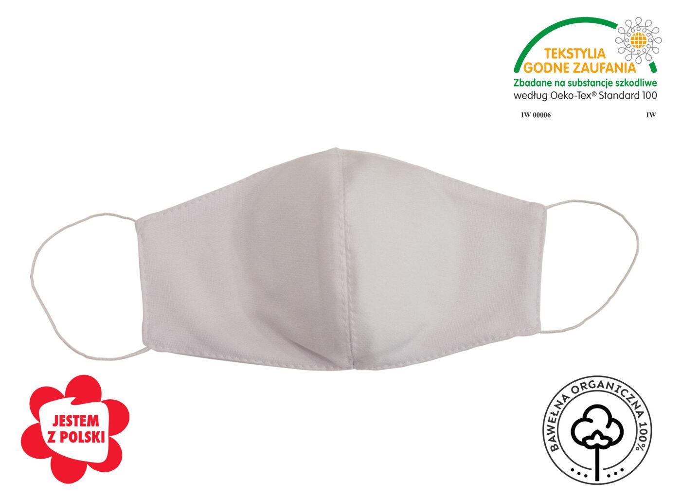 Maseczka ochronna wielorazowa dwuwarstwowa – SIMPLE PLUS – BAWEŁNA ORGANICZNA 100 5 1400x1022 - Maseczka ochronna 100% BAWEŁNA ORGANICZNA biała z wkładem - SIMPLE PLUS
